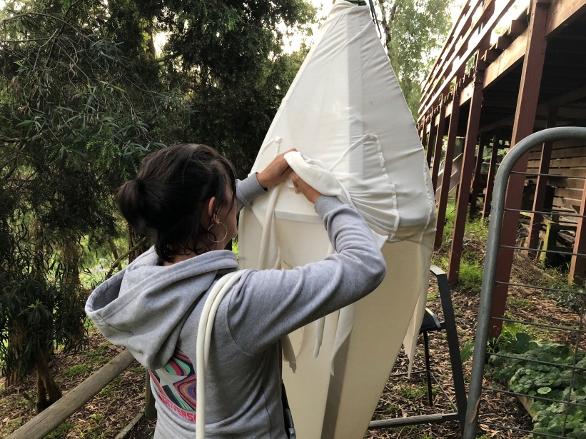 Dianna creating the first protopod for all weather testing